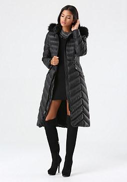 bebe Chevron Stitch Puffer Coat