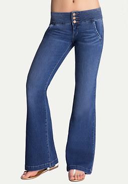 bebe Corset Waist Flared Jeans