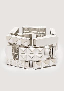 bebe Pyramid Metal Link Bracelet