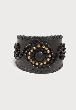 bebe Beaded Leather Cuff