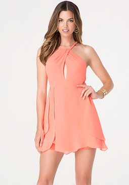 bebe Tulip Skirt Keyhole Dress