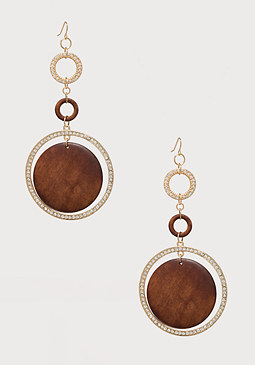 bebe Wood & Crystal Earrings