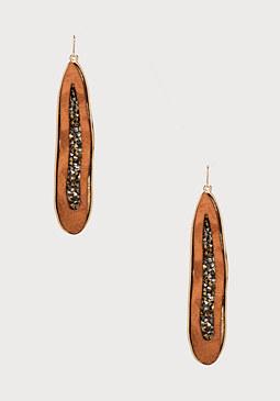 bebe Wavy Wood Linear Earrings