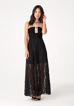 bebe Lace & Bandage Maxi Dress