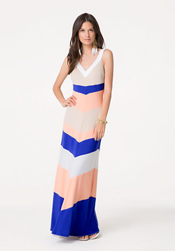 bebe Multi Chevron Maxi Dress