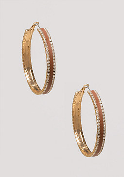 bebe Inset Crystal Hoop Earrings