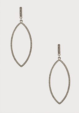 bebe Pave Marquis Hoop Earrings