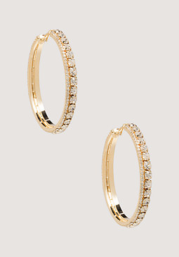 bebe Mix Crystal Hoop Earrings