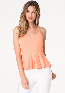 bebe Solid Pleated Peplum Top