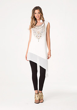 bebe Asymmetric Graphic Tunic