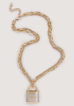 bebe Logo Lock Necklace
