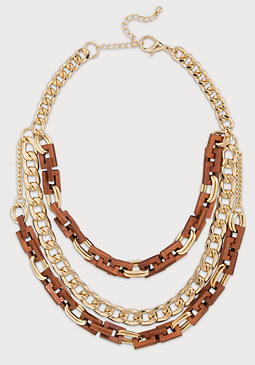 bebe Wood & Chain Necklace