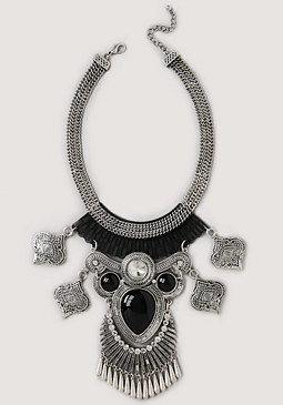 bebe Exaggerated Tribal Necklace