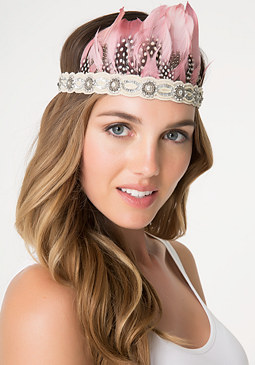 bebe Pink Feather Crown