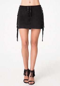 bebe Faux Suede Tie Miniskirt