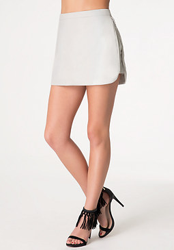 bebe Faux Leather Zip Miniskirt