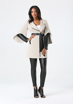 bebe Faux Leather Sleeve Coat