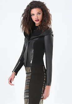 Wendy Hooded Leather Jacket