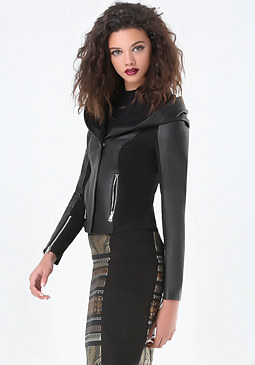 bebe Wendy Hooded Leather Jacket