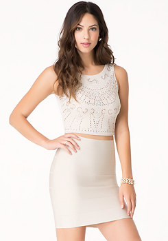 bebe Jeweled Crop Top
