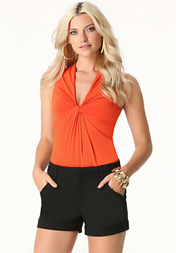 bebe Knotted V-Neck Bodysuit