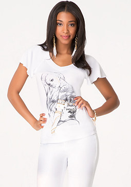 Fancy Flutter V-Neck Tee at bebe