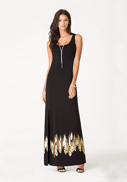 bebe Foil Feather Maxi Dress