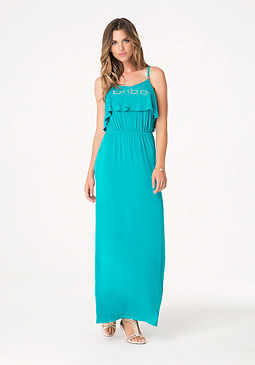 bebe Logo Ruffle Maxi Dress