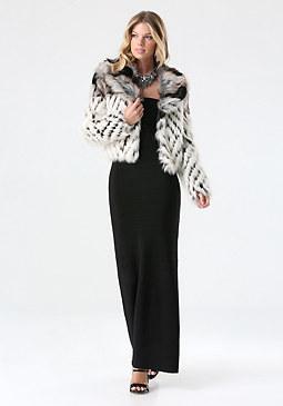 bebe Lolita 2-Tone Faux Fur Coat