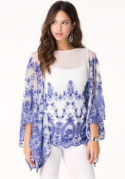 bebe Embroidered Mesh Kaftan