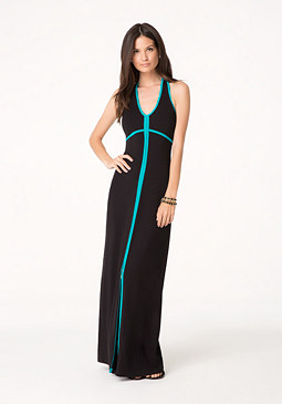 bebe Contrast Trim Maxi Dress