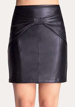 bebe Faux Leather Bow Skirt