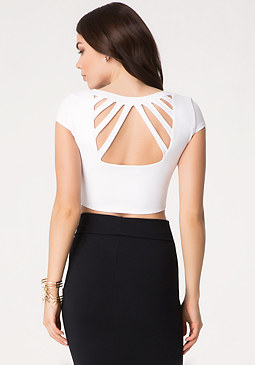 bebe Open Back Crop Top
