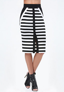 bebe Logo Striped Ponte Skirt