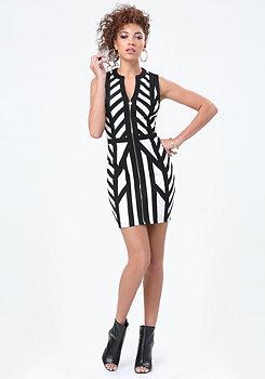 bebe Logo Panel Stripe Zip Dress