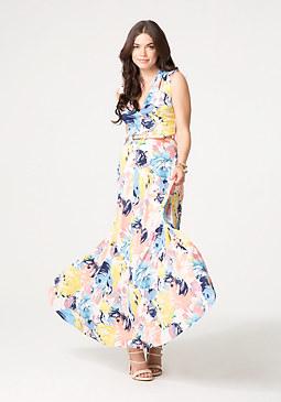 bebe Print Deep V Maxi Dress