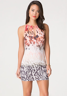 bebe Print Keyhole Dress