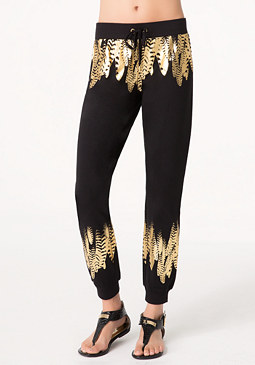 bebe Foil Feather Malibu Pants