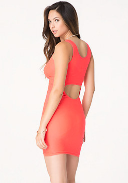 bebe Textured Back Cutout Dress