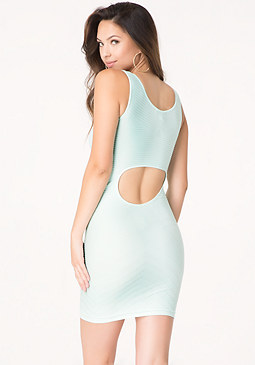 bebe Textured Back Cutout Dress