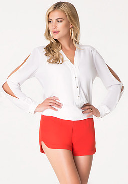 bebe Solid Button Up Blouse