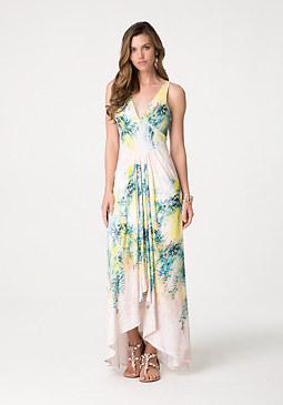 bebe Print Draped Maxi Dress