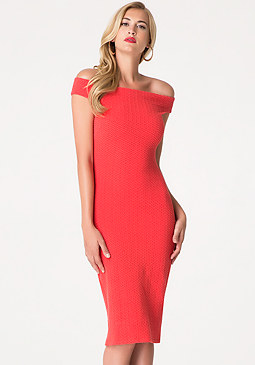 bebe Petite Textured Midi Dress