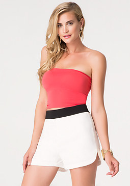 bebe Ribbed Bandeau Top