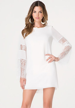 bebe Lace Inset Shift Dress