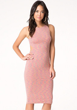bebe Space Dye Cutout Midi Dress