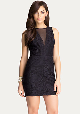 bebe Illusion Mesh & Lace Dress