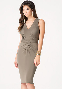 bebe Shirred Jersey Midi Dress