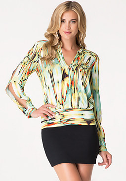 bebe Print Button Up Blouse
