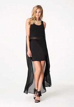 bebe Solid Chiffon Hi-Lo Dress
